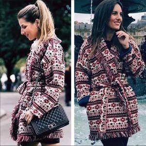 Zara | Fringe Belted Sweater Cardigan Jacket